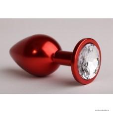Анальная втулка ANAL JEWELRY PLUGS красная с бесцветным кристаллом 9,3 см 4,2 см 170 г