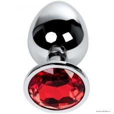 Анальная втулка Metal by TOYFA серебристая с кристаллом цвета рубин 9,5 см 4 см 420 гр