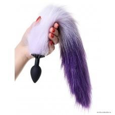 Анальная втулка POPO Pleasure by TOYFA с бело-фиолетовым хвостом 45 см, Ø 2,7 см