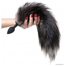 Анальная втулка POPO Pleasure by TOYFA с хвостом черно-бурой лисы 45 см, Ø 2,7 см
