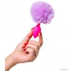 Анальная втулка с хвостом ToDo by Toyfa Sweet bunny, силикон, розово-фиолетовый, 13 см, Ø 2,8 см