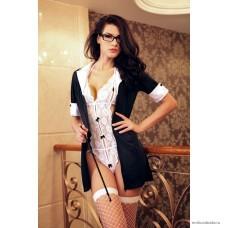 Костюм учительницы Candy Girl Kristi (платье, боди, очки, указка, чулки) черно-белый OS