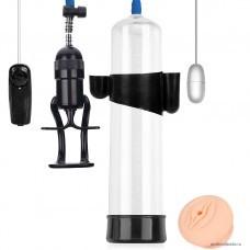 Вакуумная помпа для пениса SEX EXPERT механическая с вибрацией L 280 мм D 65 мм